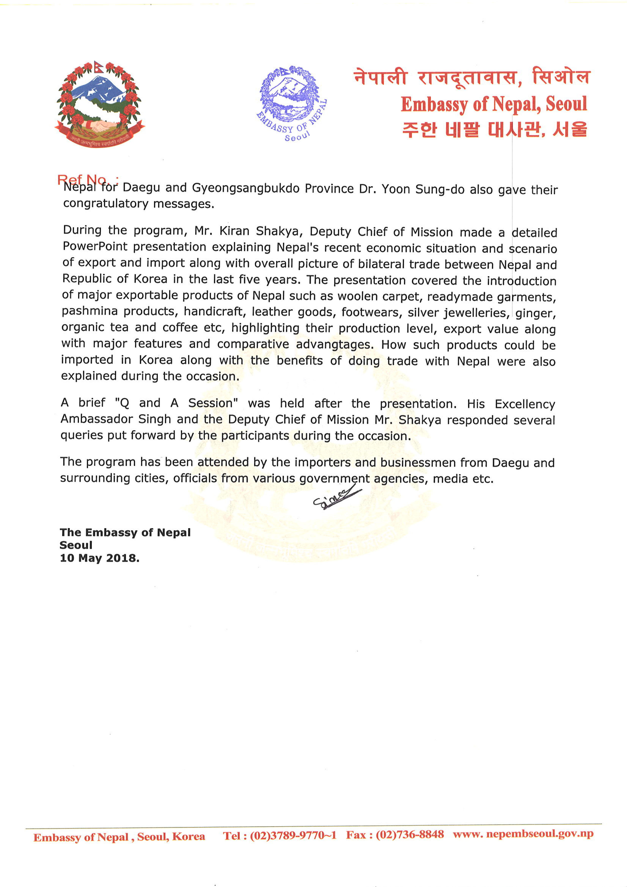 Press Release_Trade Potentials from Nepal-2 - Embassy of Nepal